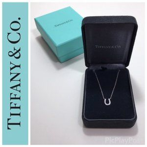 TIFFANY 18K White Gold Diamond Horseshoe Necklace